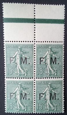 France 1901-04 – Franchise Militaire, Semeuse 15 c. olive green, block of 4 – Yvert no. 3