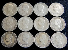 Spain - Alfonso XIII - 12 silver 50 cent coins from 1892