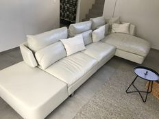 Natuzzi -  model Opus, white leather sofa with long chair