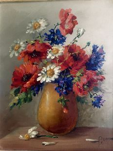 P. van Unen (20th century) - Still life of flowers
