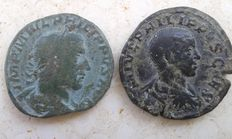Roman Empire – Lot of two sestertius coins from Roman Emperors Philip I and Philip II