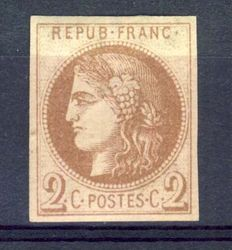 France 1870 - 2c Bordeaux chocolate colour Report 1 - Yvert n ° 40Aa signed calves with certificate