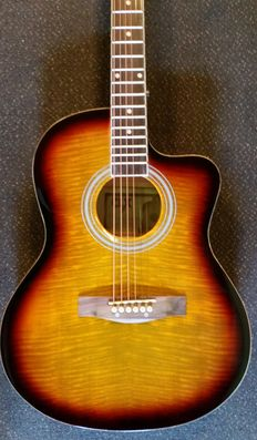 CLX electro-acoustic Tigerburst Western guitar with bag, strap and guitar cable