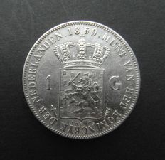 The Netherlands - 1 guilder 1859 Willem III - silver.