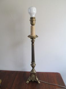 Copper church candlestick as lamp - Belgium - First half 20th century
