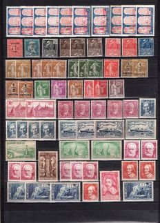 1930-37 France - Market stock valued by multiple - between Yvert No 263-342
