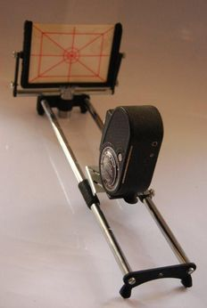 Titler and animation stand with Bell & Howell Filmo Sportster wind-up film camera.