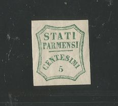 Parma, 1859: 5 cent provisional green-light blue