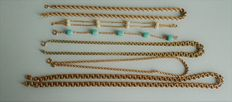 Set of four antique necklaces and two antique bracelets, all in 18 kt gold plated, hallmark