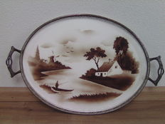 Beautiful porcelain tray - Decor mill and fisherman