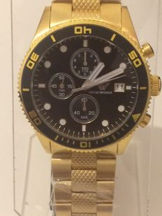 Emporio Armani  - Mens Quartz Chronograph Watch, Gold Plated Stainless Steel Strap