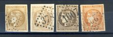 France 1870 - Matching Bordeaux including signed by Calves - Yvert no. 43A, 43B, 47, 48