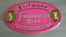 Tin advertising sign for Raspberry Liefmans 1987