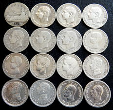 Spain – Provisional Government, Alfonso XII and Alfonso XIII – 16 silver coins of 50 centimos – 1870 to 1926