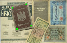German Arbeitsbucher: 1st type from Hildesheim + 3 banknotes + last Arbeitsbuch type + Hutchinsons Pictorial History of the war. WW2