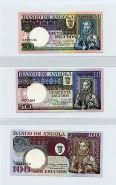Angola - complete serie issue 1973 - 20-50-100-500-1000 Escudos - Pick 104, 105, 106, 107 and 108