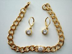 Vintage 1960s – Gold Plated Demi parure - Set of Wrist Bracelet + Earrings - Excellent