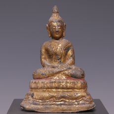 Beautiful seated, gold-plated lead Buddha - Thailand - late 19th century