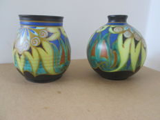 Plateelfabriek Schoonhoven - 2 vases with Largo decor.