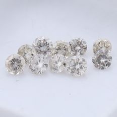 10 Round Brilliant Mix Color Diamonds – 0.55 ct. - *** NO RESERVE ***