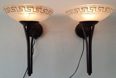 Two decorative metal wall lamps