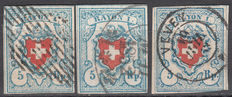 Switzerland 1851 – Rayon I 5 Rp blue and red – Michel Nº 9 II