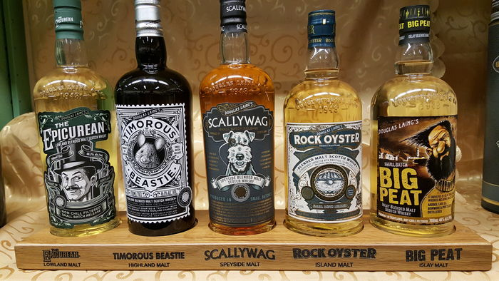 Regional Malts:  Rock Oyster - Scallywag - Big Peat - Timorous Beastie - the Epicurean - INCLUDING wooden planchette - Douglas Laing - 0.7 Ltr - 5 bottles
