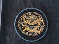 Embroidery with dragon on silk - China - 19th century