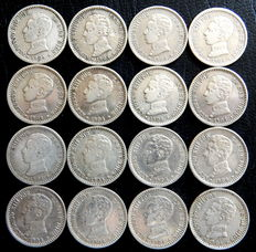 Spain - Alfonso XIII - 16 silver 50 cent coins from 1904 *04 SMV