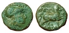Greek Antiquity - Greek, Thessaly - Thessalian League (199-146 BC) - Æ (16mm; 3,40g.) - Thessaly mint - Head Athena / Bridled horse - SNG Cop. 324-328