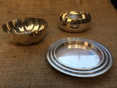 Set of Christofle tableware, 2 bowls and one champagne/wine coaster, 1935-1983, France