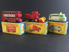 Lesney Matchbox - Misc. scales - London Bus No.5, Milk Delivery Truck No.21 and Combine Harvester No.65