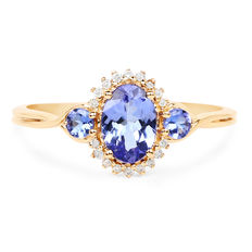 Tanzanite gold ring with diamonds Tanzanite 1.10 ct and diamonds of 0.09 ct No reserve price, 14 kt / 585,