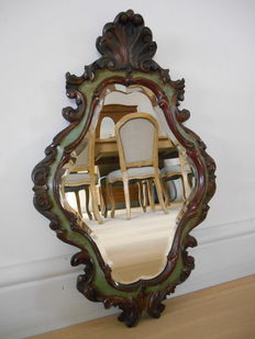 Beautiful antique wooden crested mirror
