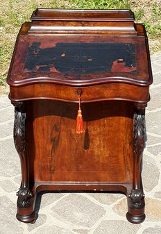 Inlaid mahogany and mahogany burl Davenport writing desk - England, 19th century