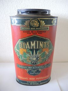 Antique Large Diamints Peppermint Candy tin 1930s