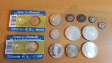 The Netherlands and Dutch East Indies – Lot with various coins 1898/1999 (13 pieces) – silver
