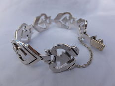 925 silver hand-forged bracelet with sawed hearts – 19 cm