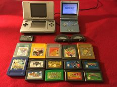 Nintendo DS 1st Generation Handheld silver and Gameboy SP Blue with 14 games and more