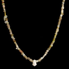 Necklace with Roman glass beads with glass amulet pendant  - 57 cm