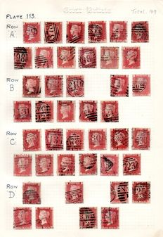 Great Britain Queen Victoria 1864/1879 - 1d Red Stanley Gibbons 43 Plate 113 - Part Sheet Reconstruction