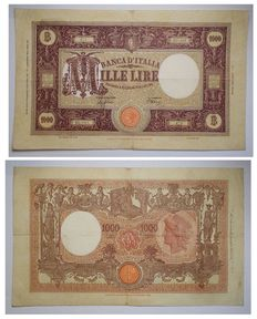 Italy - Kingdom of Italy 1000 lire big M with fasces. 2nd type. Decree 06-02-1943 - ALFA BI.622