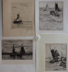 Four prints after Hendrik Willem Mesdag (1831-1915), among others, by Philip Zilcken - Botters op zee - late 19th century