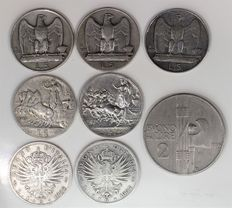 Kingdom of Italy - 1.25 Lira, 1912/1929, Victor Emmanuel III - (Lot of 8 coins, 7 silver coins) -