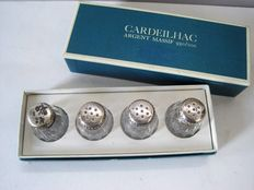 Christofle/Cardeilhac - 4 salt shakers with silver screw top in original box, mid 20th century