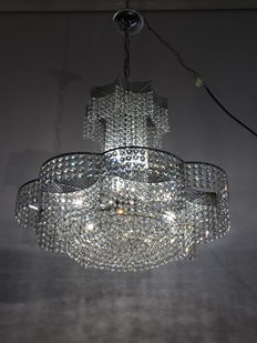 Crystal glass chandelier - Italy, 1970s