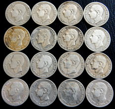 Spain – Alfonso XIII – Lot of 16 coins of 50 cent from 1880