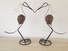 Lot of two large handmade vintage metal crane birds, birds of paradise
