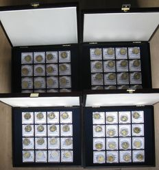 Germany – medals Maueröffnung Wiedervereinigung 1989/2010 (64 different medals) new silver with brass in 4 coffers