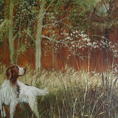 Fine oil Painting in a  almost photorealism Style - L. Eiford (UK) : Hunting dog with away flying pheasant